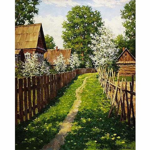 Картина раскраска по номерам 40x50 Деревенский путь