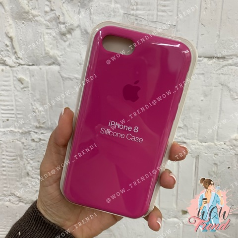 Чехол iPhone 7/8 Silicone Case /dragon fruit/ тёмная фуксия 1:1