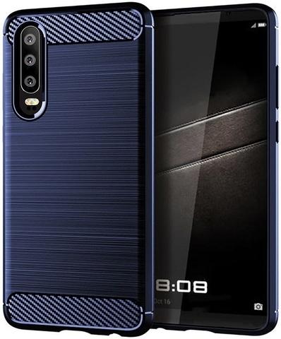 Чехол Huawei P30 цвет Blue (синий), серия Carbon, Caseport