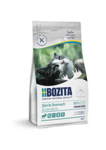 BOZITA Diet & Stomach сухой корм для кошек с чувств. пищ. и пожилых кошек с мясом лося 400г