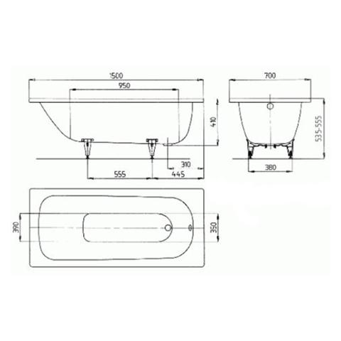 Ванна стальная Kaldewei  Saniform Plus 150x70 standard mod. 361-1 схема