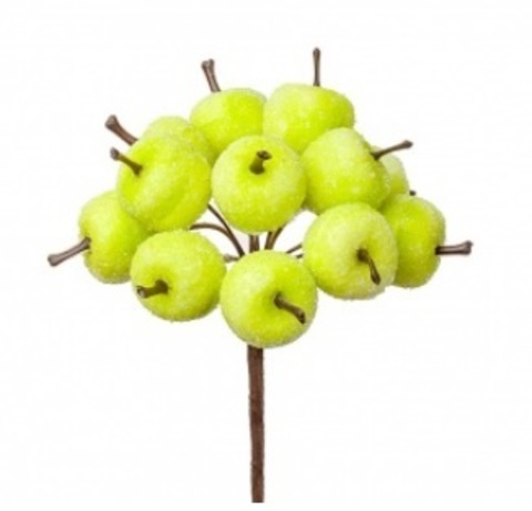 Набор яблок засахаренных на вставках 12шт., размер: D2,2x1,9xL10см, цвет: зеленый