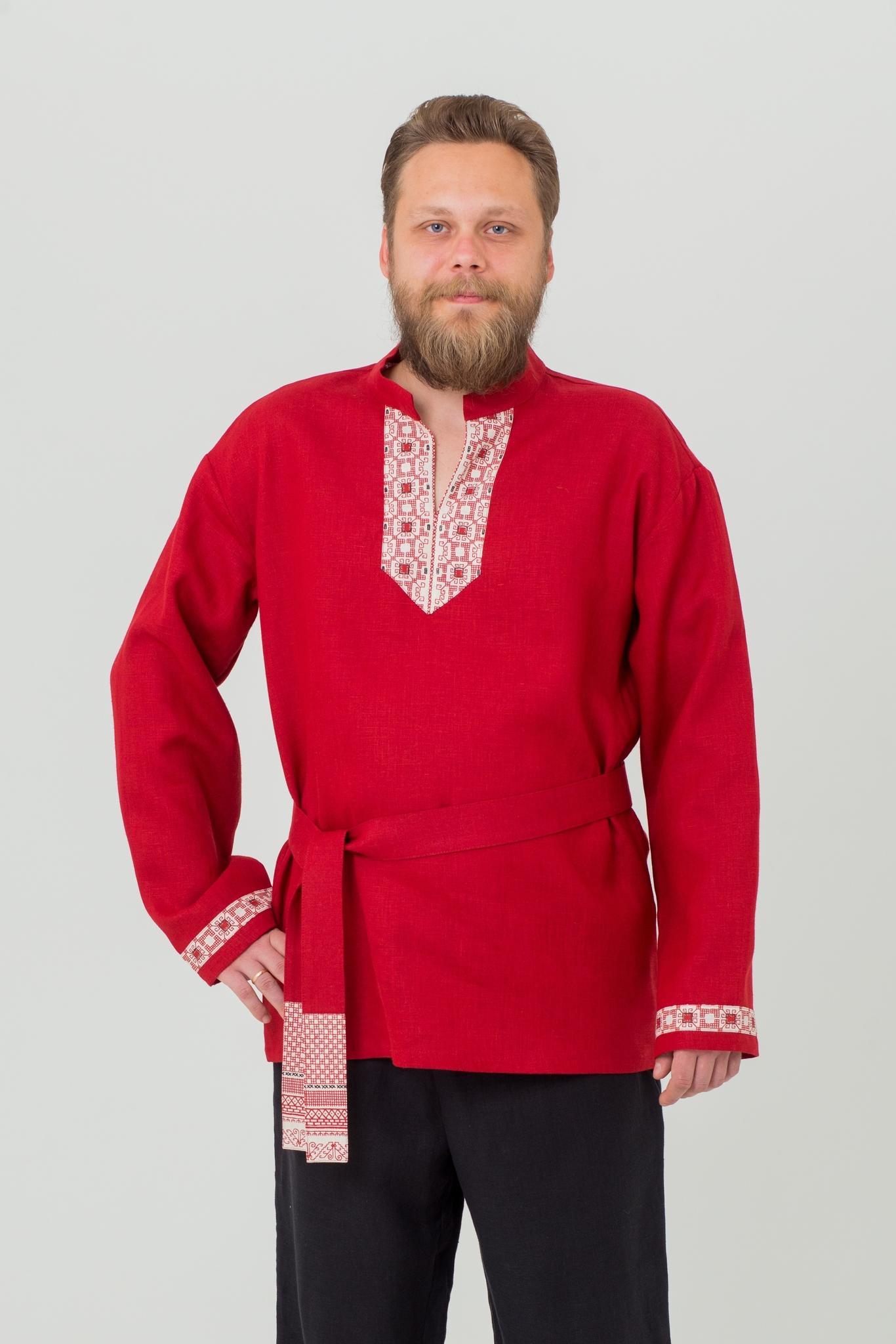 Рубаха мужская льняная Брусничный цвет