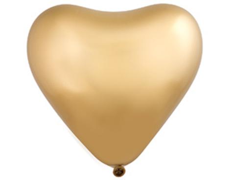 Воздушный шар сердце Хром золото