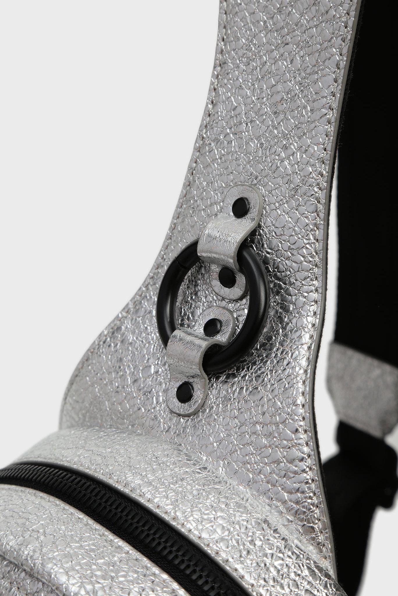 Женский серебристый кожаный рюкзак KUB8 / ZANE' Diesel