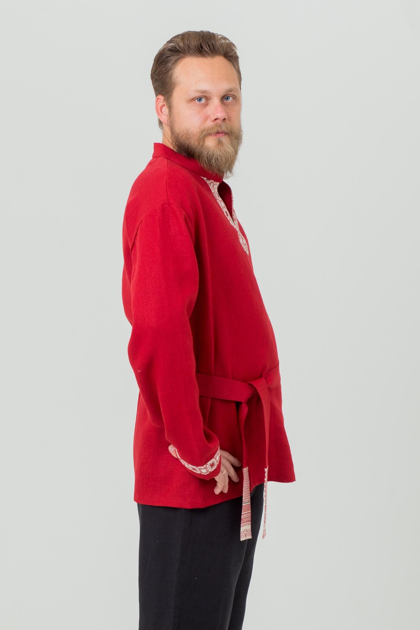 Рубаха мужская из льна Брусничный цвет в русском стиле