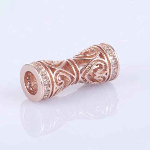 Бусина цилиндр c цирконами 18 х 7 мм цвет роз.золото