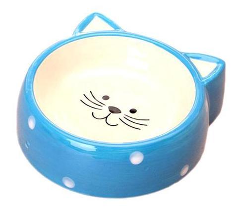 №1 Миска керамическая кошачья мордочка голубая горох