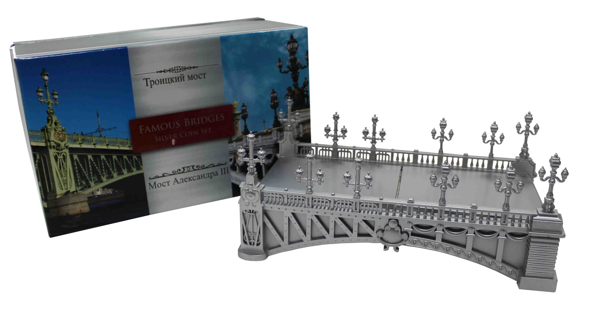 "2 доллара 2015 год. Ниуэ. Знаменитые мосты: ""Троицкий мост"" и ""Мост Александра III"""