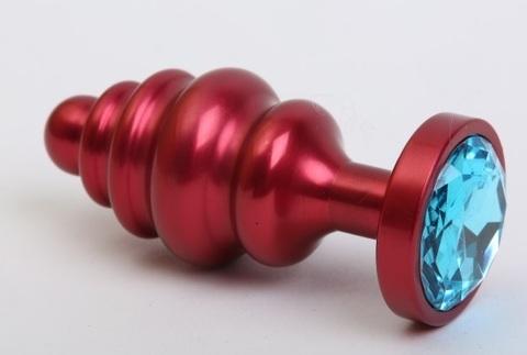 Пробка металл 7,3х2,9см фигурная красная голубой страз 47426-1MM