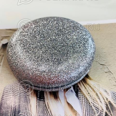 Зеркало складное карманное French macarons с блёстками Серебристое