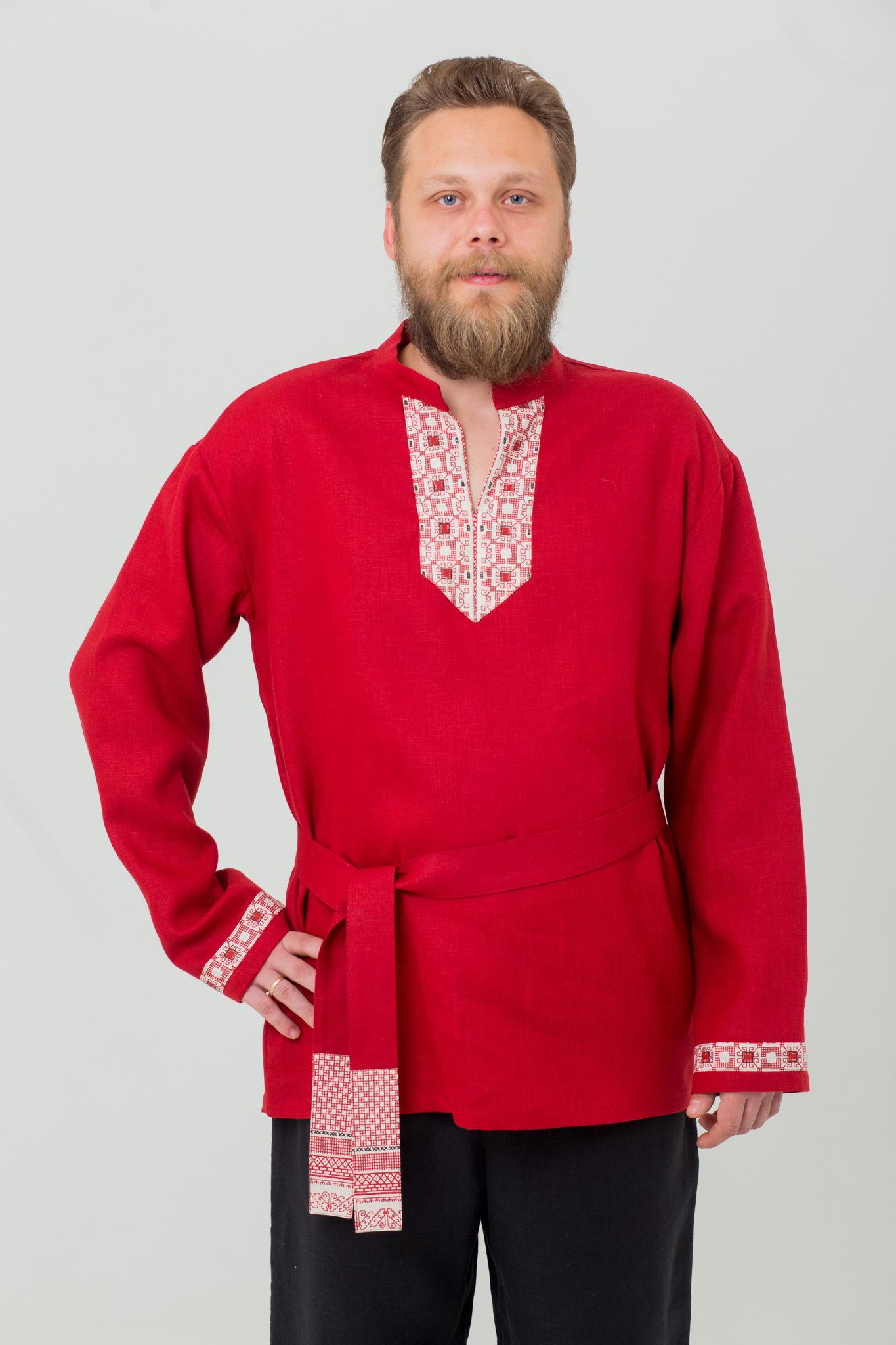 Рубаха с поясом русская народная Брусничный цвет