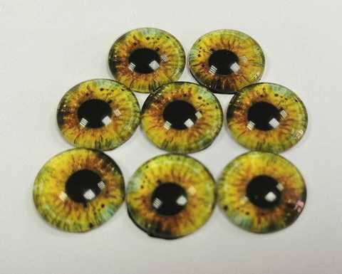 Глазки стеклянные,  12мм, желто-зеленые, 1уп-8шт. (1182)