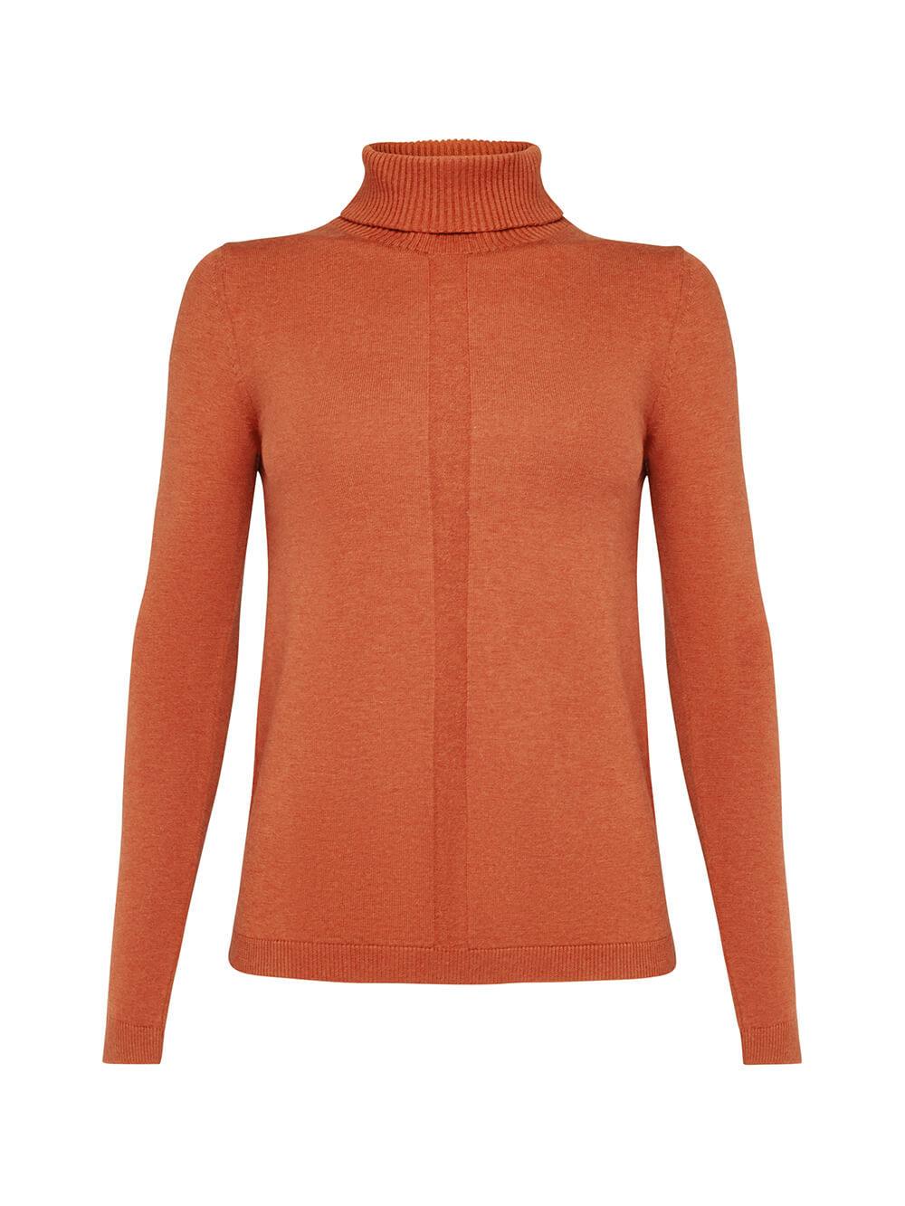 Женский джемпер оранжевого цвета из шерсти и шелка - фото 1