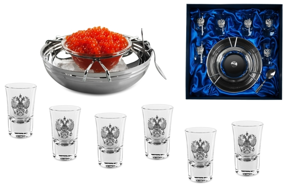 Подарочный набор для водки «Русское застолье», с икорницей недорго, оригинальная цена