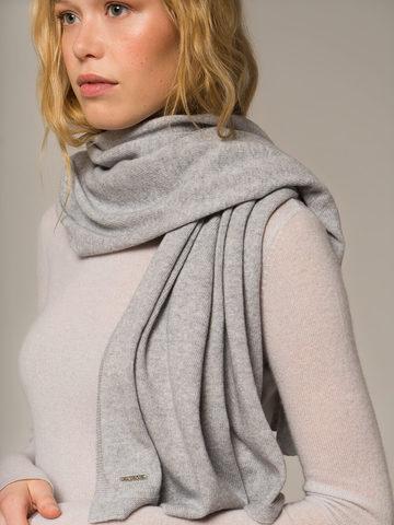 Женский шарф цвета серый меланж из 100% кашемира - фото 4