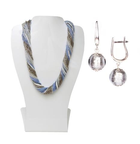 Комплект украшений серо-синий (серьги-бусины, ожерелье из бисера 36 нитей)