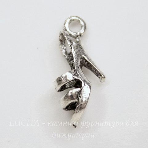 """Подвеска 3D """"Босоножка"""" 19х9 мм (цвет - античное серебро)"""