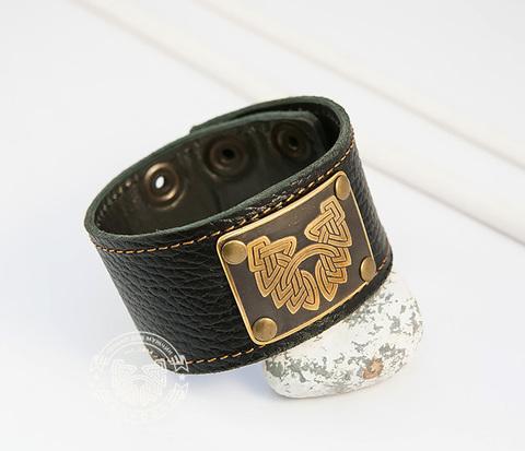 BL422 Широкий кожаный браслет с гравировкой рисунком на пластине