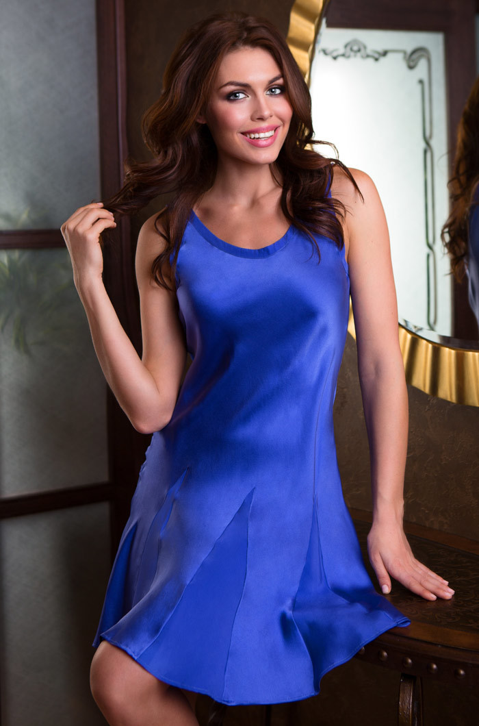 шелк натуральный Сорочка женская натуральный шелк  MIA-MIA   Mary Rose 15094 15094_blue.jpg