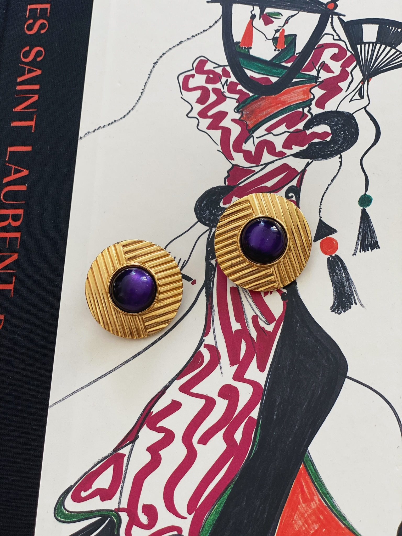 1980s Yves Saint Laurent Clip-on Earrings With Purple Lucite Cabochons