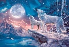 Картина раскраска по номерам 40x50 Волки воют на луну