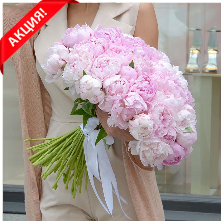Купить букет 51 розовый пион Сара Бернар в Перми