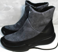 Зимние полусапожки на танкетке Jina 7195 Leather Black-Gray
