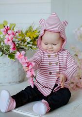 Лапушка. Кофточка на пуговицах с капюшоном с ушками, розовая вид 2