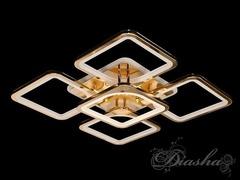 Золотая Светодиодная люстра с димером и подсветкой 150W