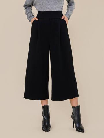Женские свободные брюки черного цвета из шерсти - фото 4