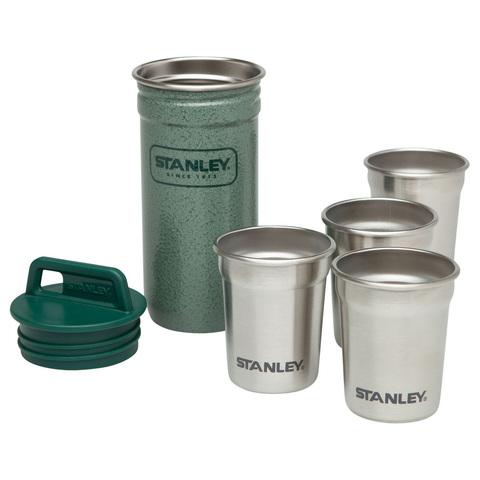 Набор подарочный Stanley Adventure (фляга 0,23 л + стопки 4 шт по 59 мл. + футляр), зеленый