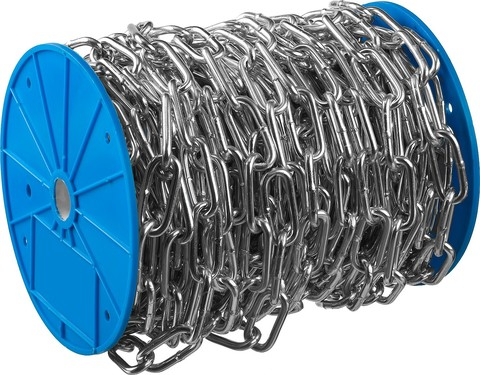 Цепь длиннозвенная, DIN 763, оцинкованная сталь, d=2мм, L=200м, ЗУБР Профессионал