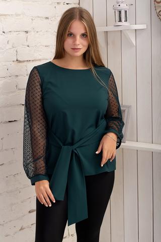 Иветта. Блуза Pluse Size с прозрачным рукавом. Изумруд