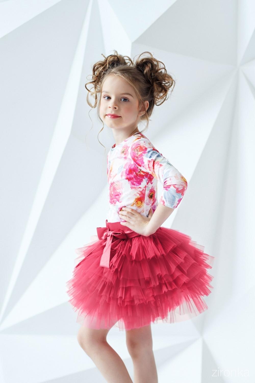 Комплект (блузка, юбка) коралловый для девочки 64-7005-9