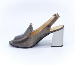 Кожаные босоножки бронзового цвета на высоком каблуке