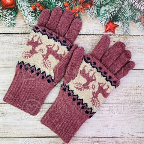Перчатки для девочки с митёнками сенсорные два пальца Олени Лиловые