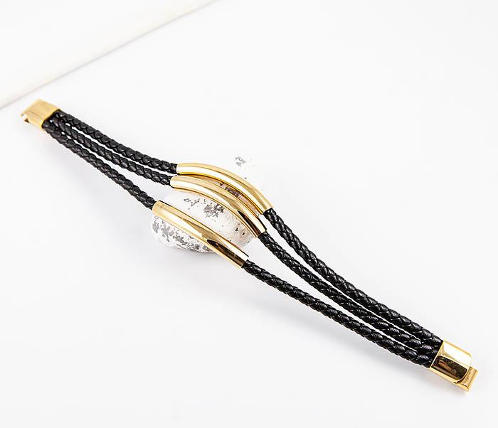 BM490-2 Браслет из шнуров со стальными вставками золотого цвета фото 02