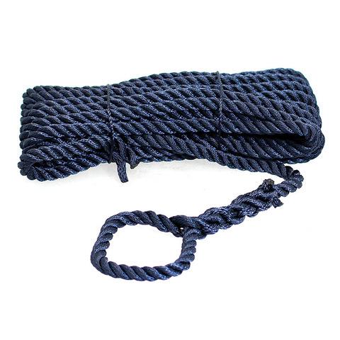 Трос швартовый 3х-прядный Ø14 мм/ 10 м, темно-синий