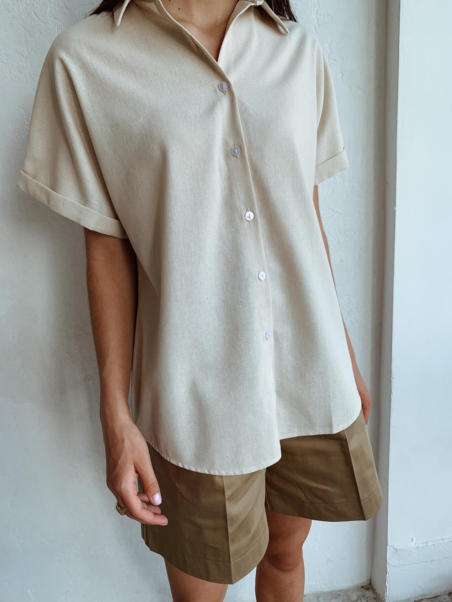 Рубашка свободного кроя с коротким рукавом (лен) (one size) (песочный)