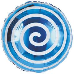 К Круг Леденец Спираль, Синий, 18''/46 см, 1 шт.