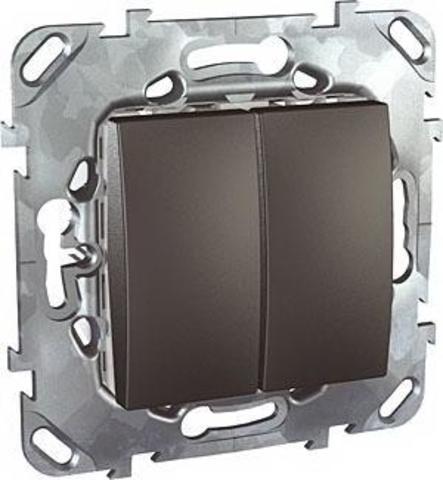 Выключатель двухклавишный проходной - Переключатель двухклавишный. Цвет Графит. Schneider electric Unica Top. MGU5.213.12ZD