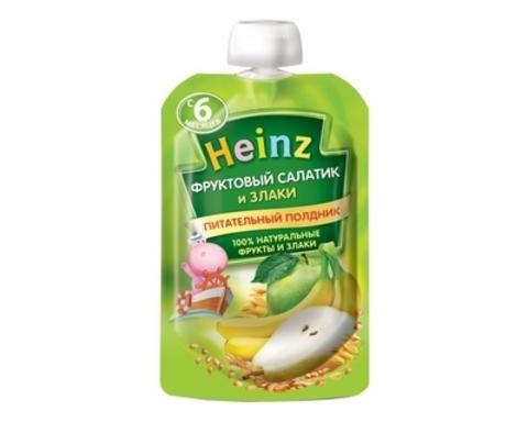 Heinz Пюре Фруктовый салатик 3 злака (пауч 90гр) с 6мес