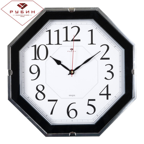 3333-001 (10) Часы настенные восьмигранник 33х33см, корпус черный