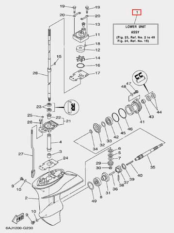 Редуктор в сборе для лодочного мотора F20 Sea-PRO (23-1)