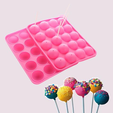 Силиконовая форма для кейк-попсов D=4см с палочками