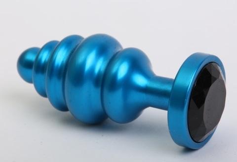Пробка металл 7,3х2,9см фигурная синяя черный страз 47428-8MM