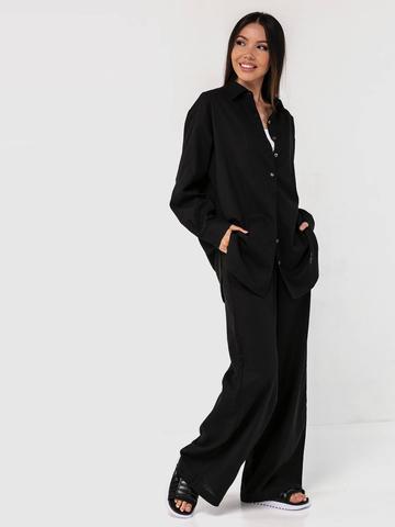 Льняной костюм черный YOS