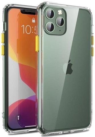 Чехол на iPhone 11 Pro, прозрачный с желтыми кнопками, серии Ultra Hybrid от Caseport