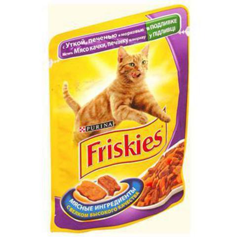 Friskies Кусочки в Подливке с уткой, печенью и морковью д/кошек. 100 г